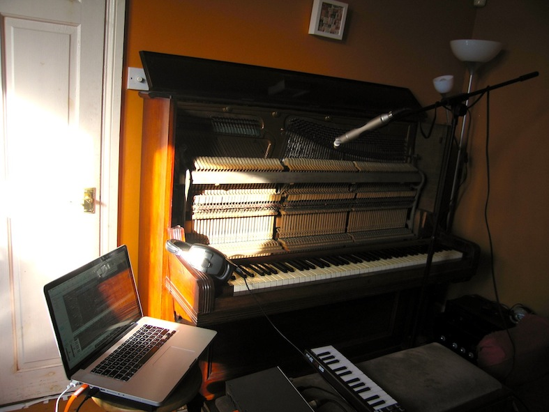 A piano being recorded, yesterday. (Not yesterday.)