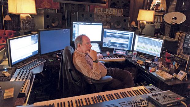 Hans Zimmer in his massive studio pondering on his Interstellar score (probably)