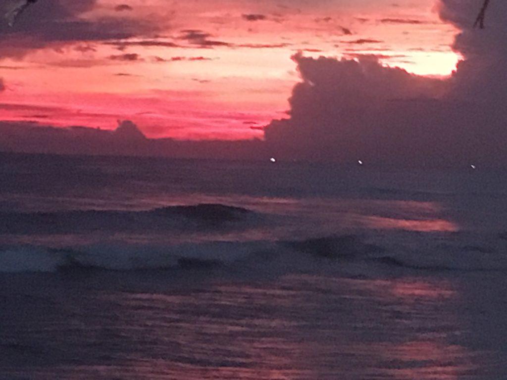 Sunset over the ocean in Hikkaduwa